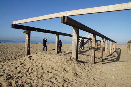 Beach. The substructure of a restaurant. Each year the restaurant is rebuilt in the spring.