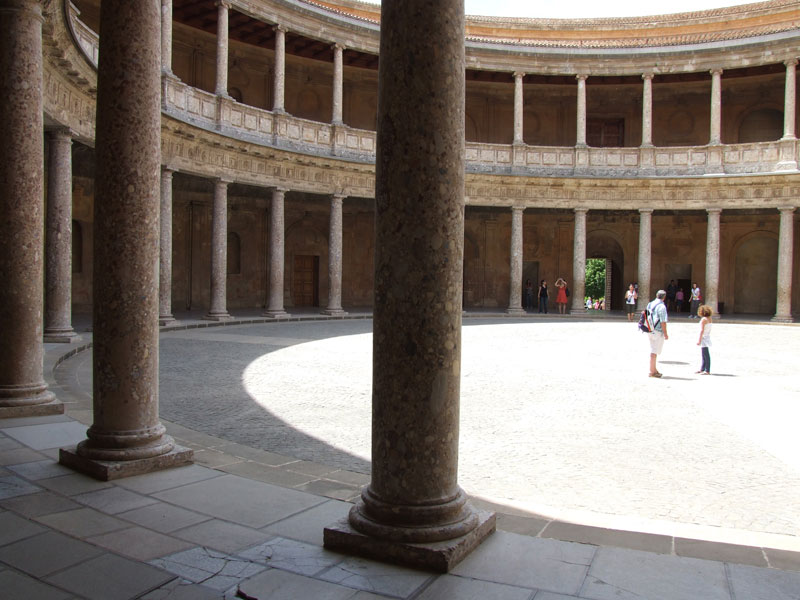 An inner circular patio of the palace of Charles V.